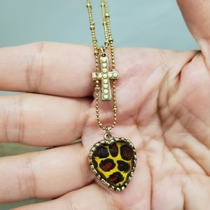 Betsey Johnson leopard heart and cross necklace